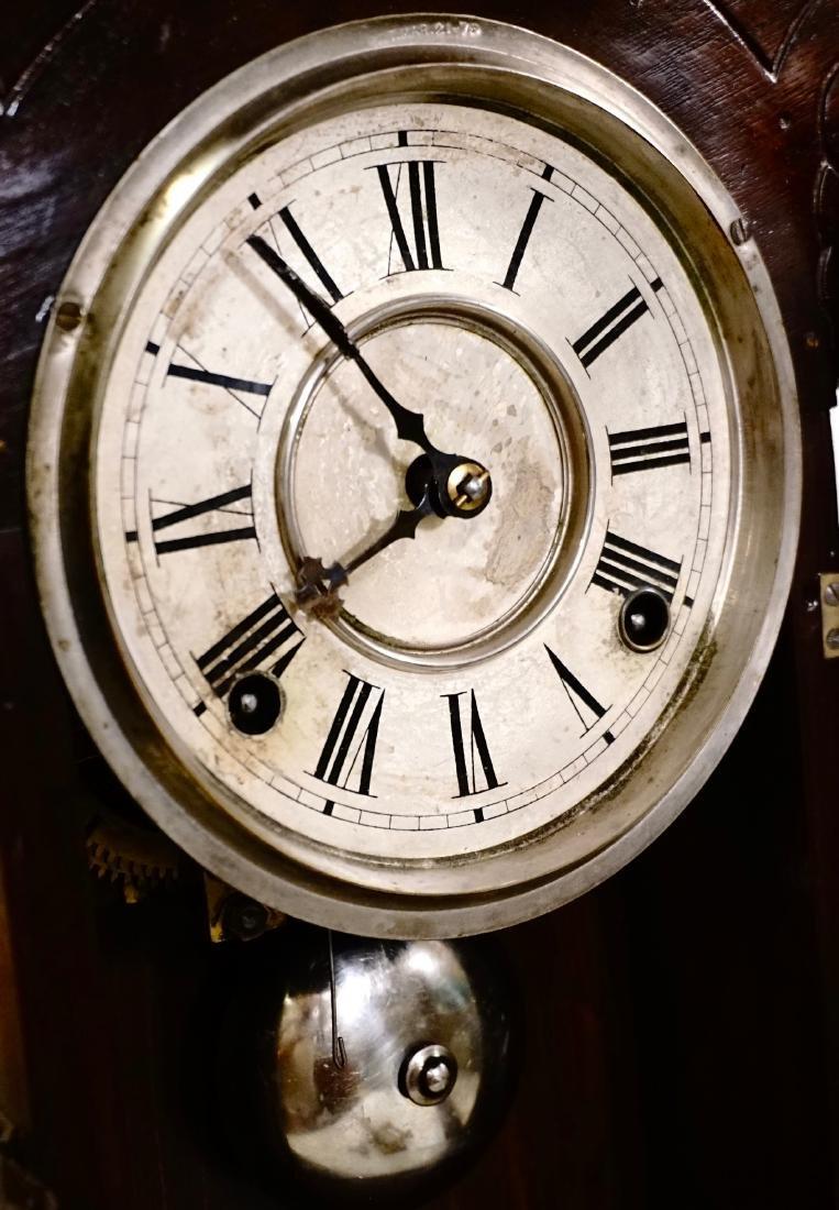 Carved Walnut Mantel Shelf Clock - 8