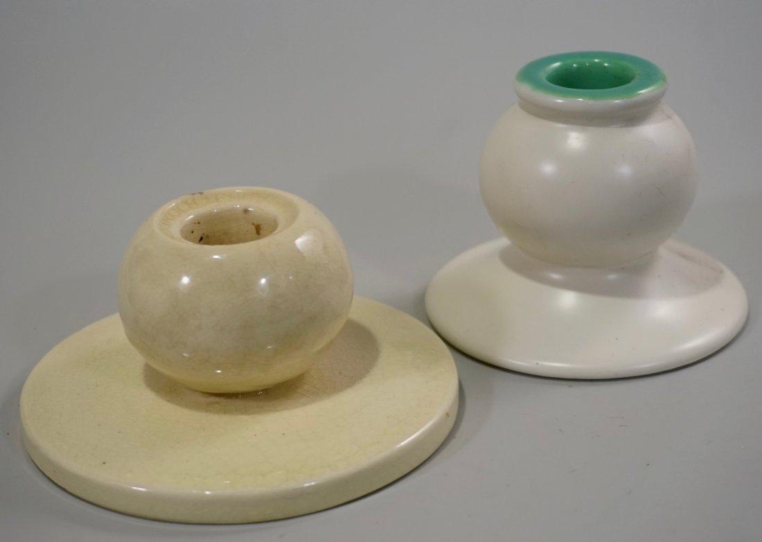 Art Deco Ceramic Candle Holders Lot of 2 Vintage Potter - 2