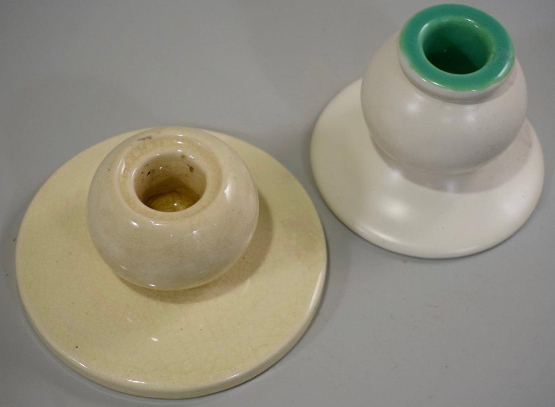 Art Deco Ceramic Candle Holders Lot of 2 Vintage Potter - 3