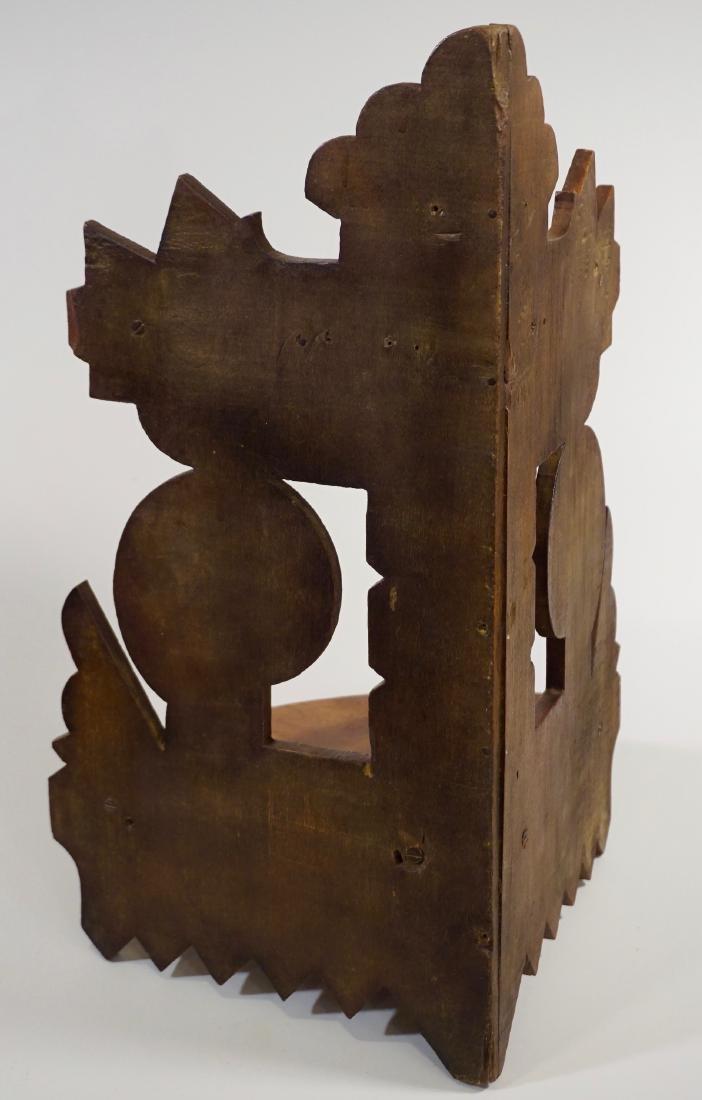 Antique Eastlake Carved Wood Corner Shelf c 1910 - 5