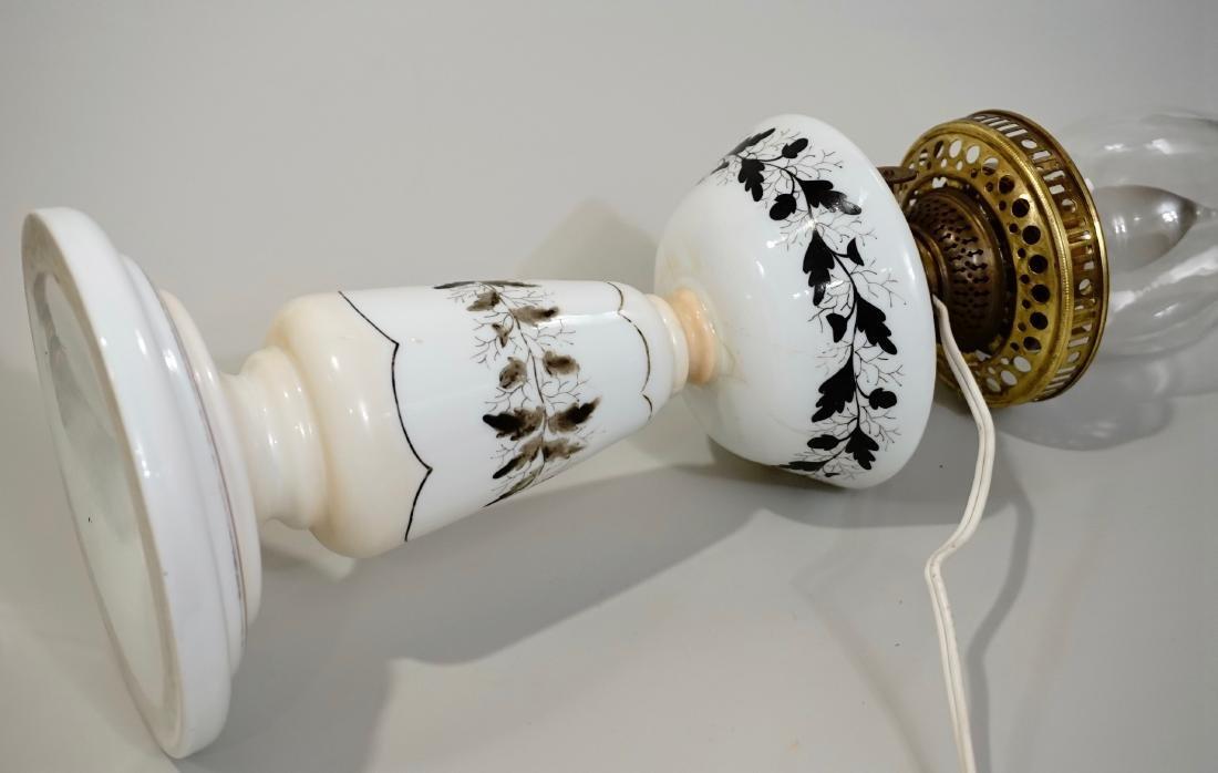 Bristol Glass Kerosene Lamp Etched Shade Electrified - 10
