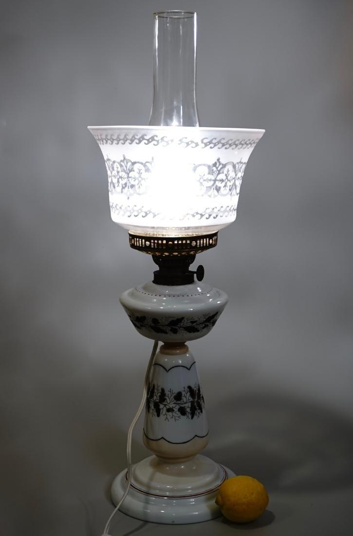 Bristol Glass Kerosene Lamp Etched Shade Electrified - 2