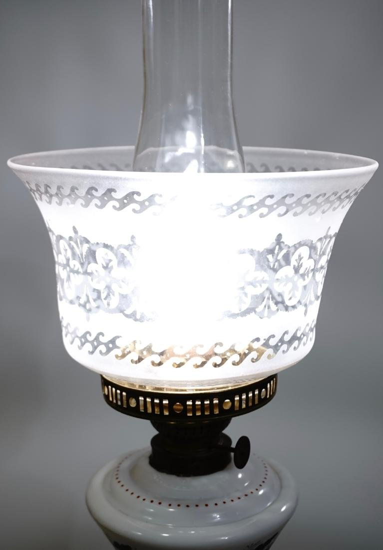 Bristol Glass Kerosene Lamp Etched Shade Electrified - 3