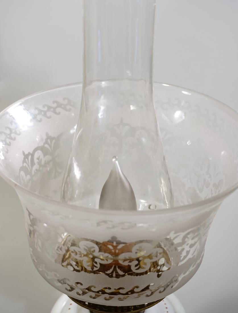 Bristol Glass Kerosene Lamp Etched Shade Electrified - 4