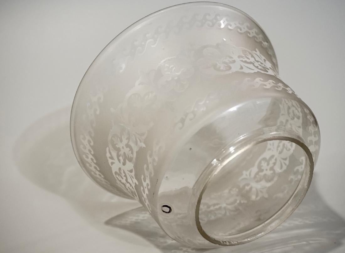 Bristol Glass Kerosene Lamp Etched Shade Electrified - 6