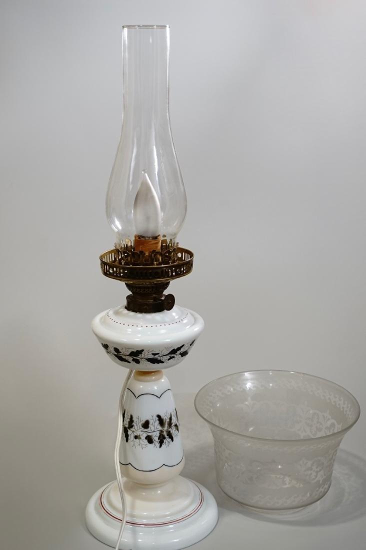 Bristol Glass Kerosene Lamp Etched Shade Electrified - 7