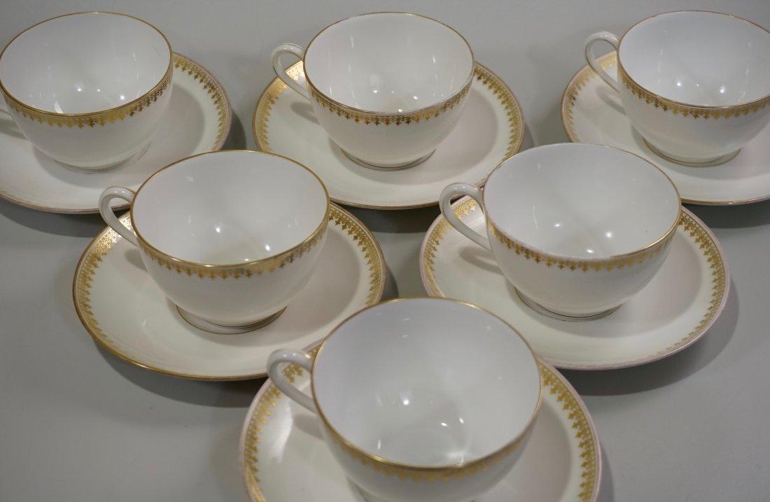 TV Limoges Porcelain France Tea Cup Saucer Set Lot of 6