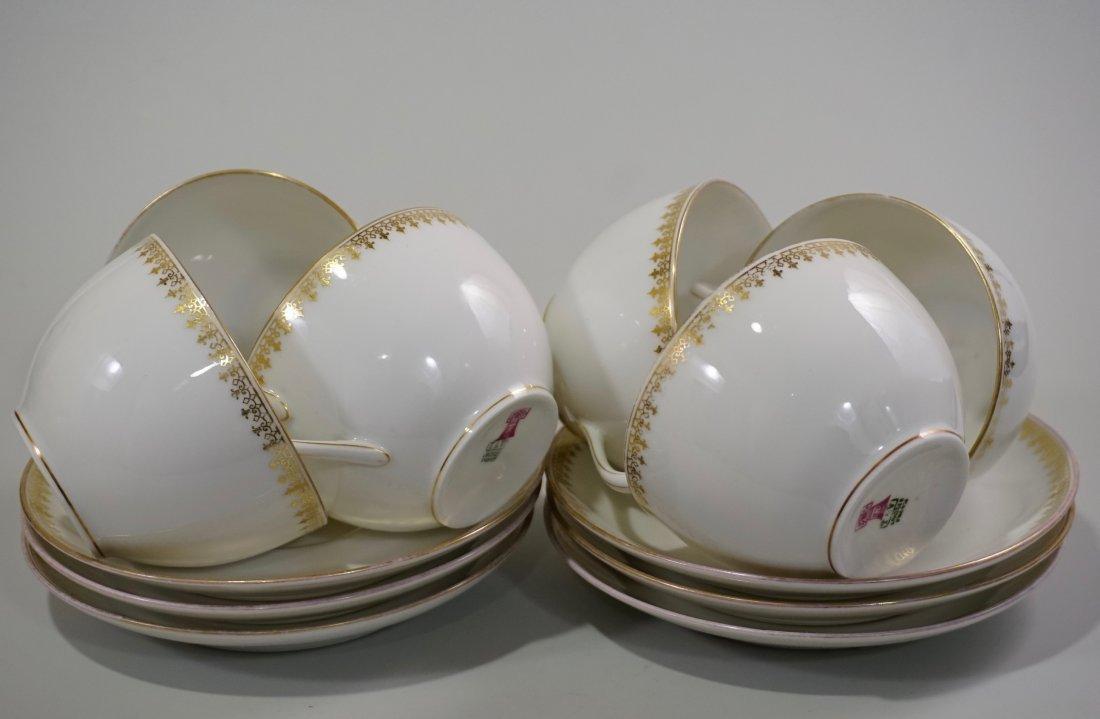 TV Limoges Porcelain France Tea Cup Saucer Set Lot of 6 - 2