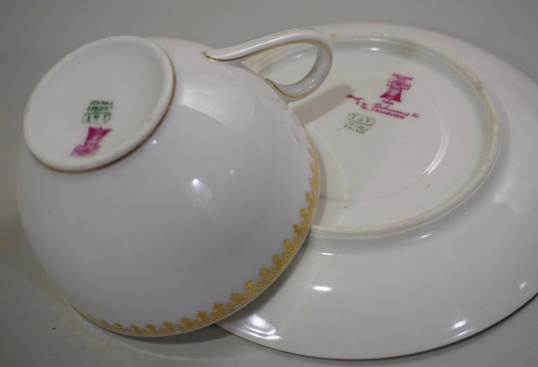 TV Limoges Porcelain France Tea Cup Saucer Set Lot of 6 - 5