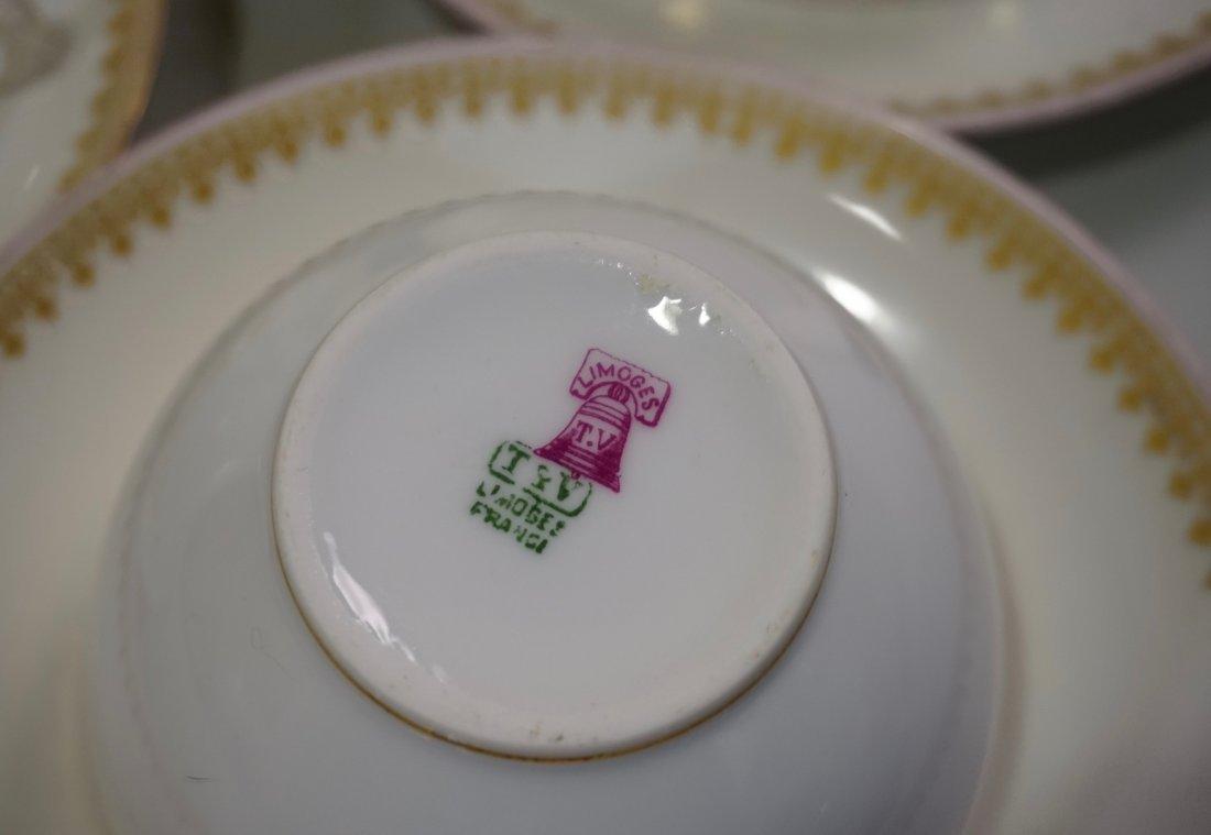 TV Limoges Porcelain France Tea Cup Saucer Set Lot of 6 - 6