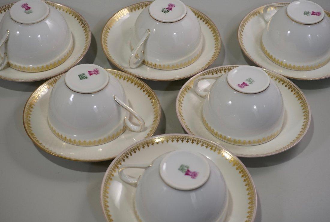 TV Limoges Porcelain France Tea Cup Saucer Set Lot of 6 - 8