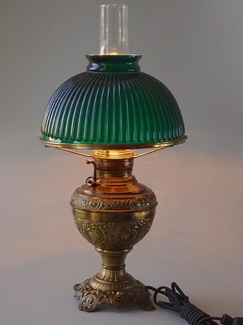 Antique New Juno Kerosene Lamp Electrified Green Cased