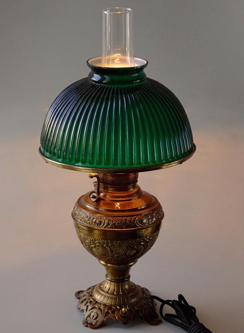 Antique New Juno Kerosene Lamp Electrified Green Cased - 2