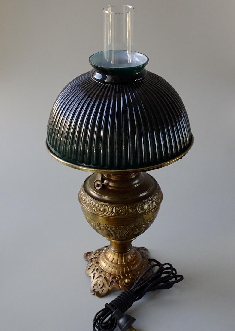 Antique New Juno Kerosene Lamp Electrified Green Cased - 3