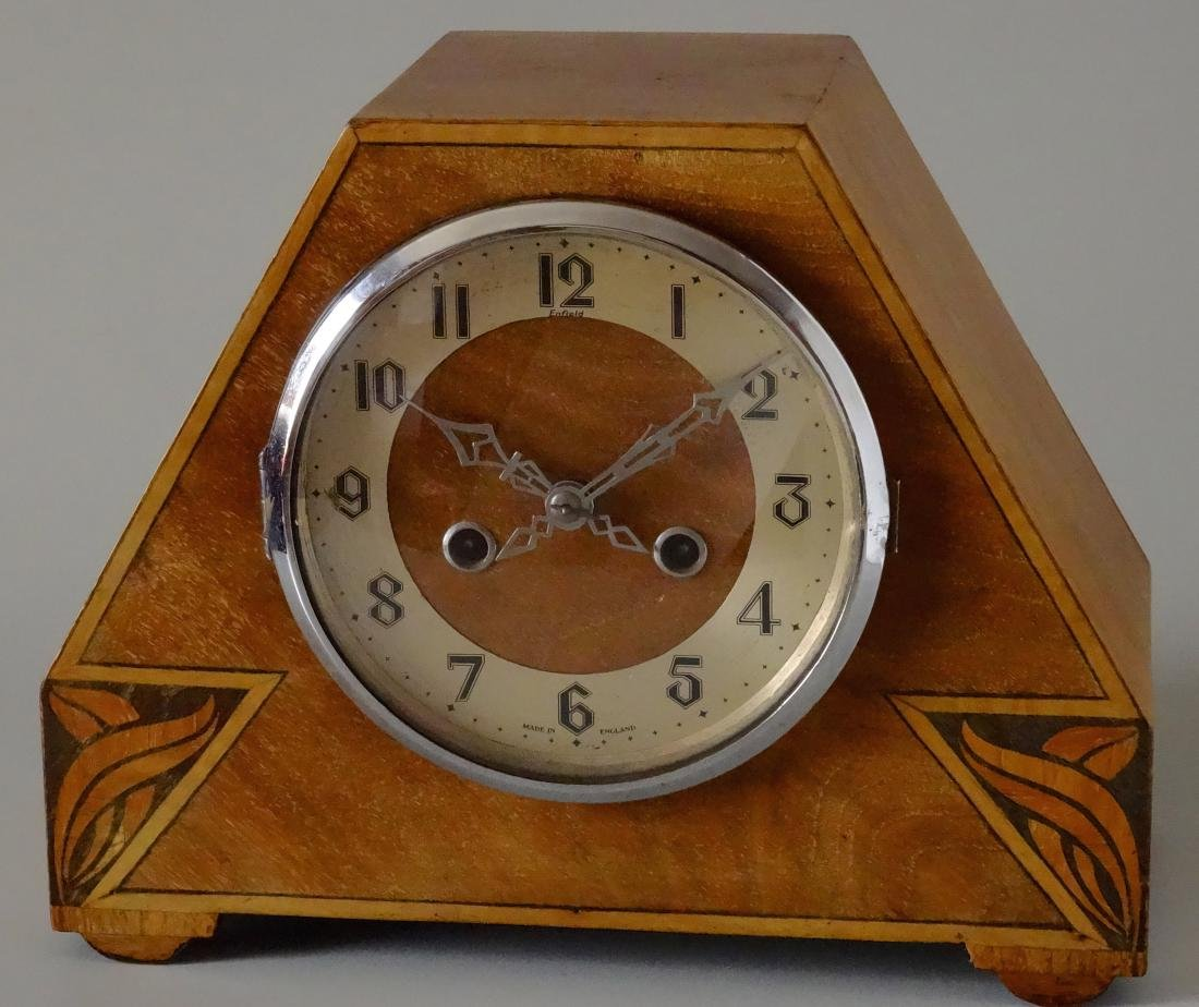 English Art Deco Inlaid Wood Shelf Mantel Clock