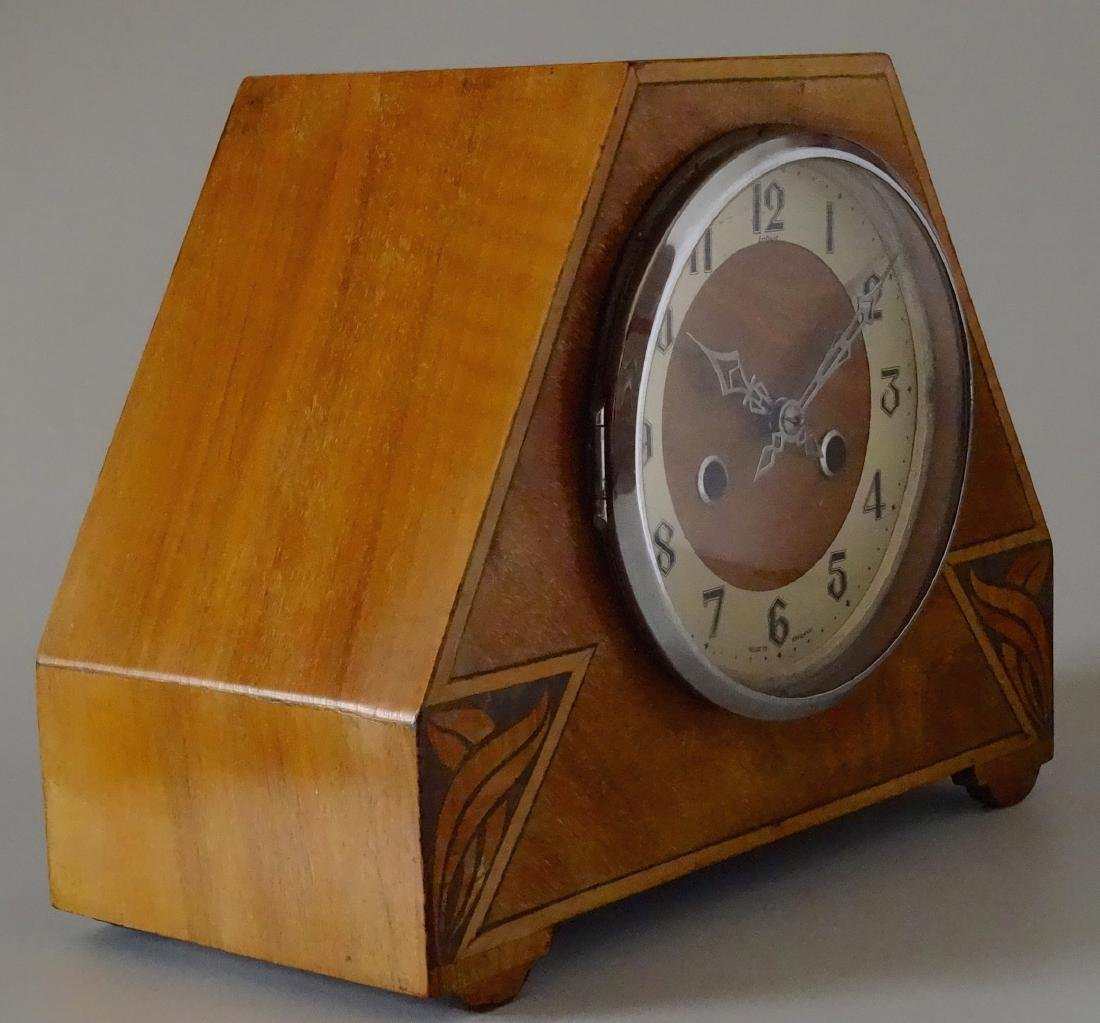 English Art Deco Inlaid Wood Shelf Mantel Clock - 3