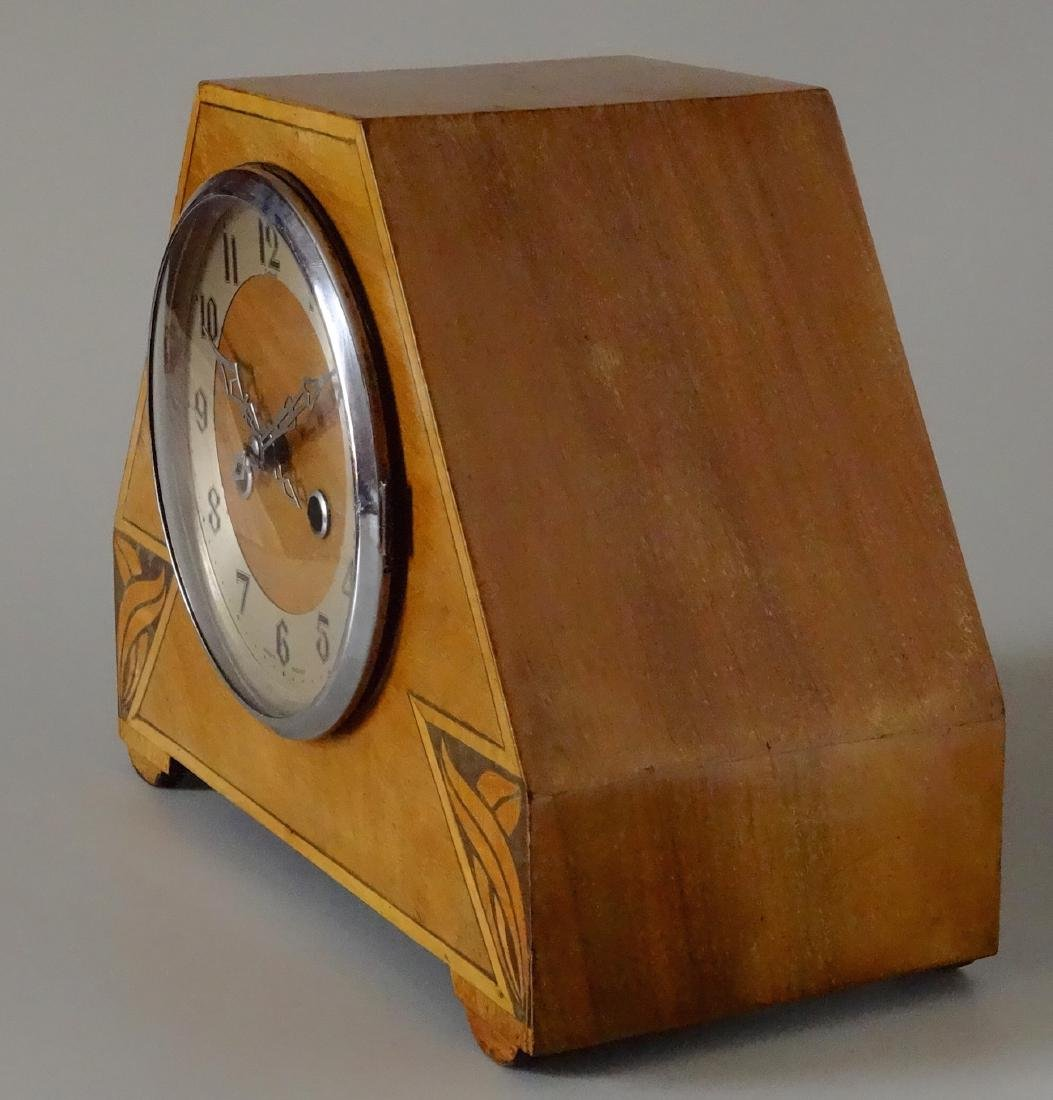 English Art Deco Inlaid Wood Shelf Mantel Clock - 4