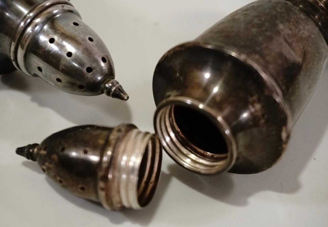 Sterling Silver Salt Pepper Shakers Set of 2 - 3