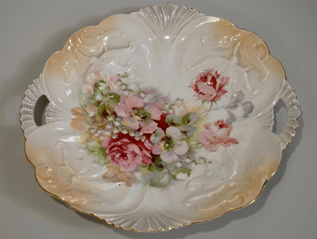 Porcelain Cake Platter Molded Plate Marked Germany Mold