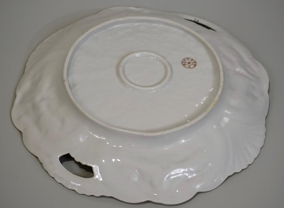 Porcelain Cake Platter Molded Plate Marked Germany Mold - 4