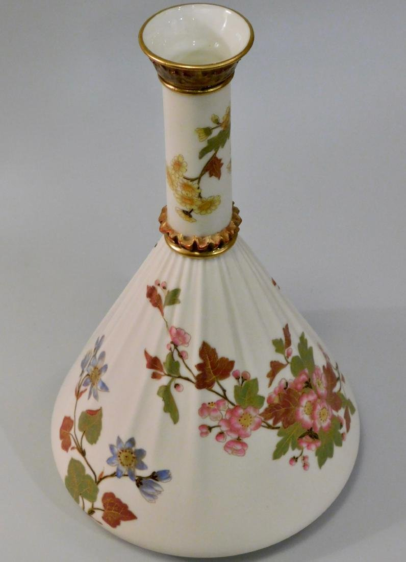Antique Royal Worcester China Floral Porcelain Vase - 3