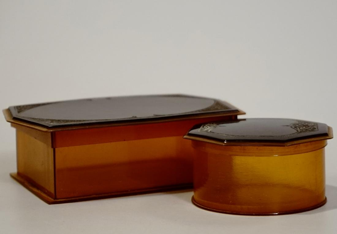 Celluloid Vanity Trinket Boxes Art Deco Period - 2