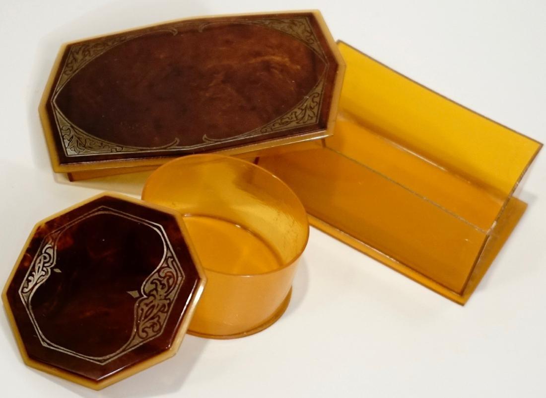 Celluloid Vanity Trinket Boxes Art Deco Period - 4