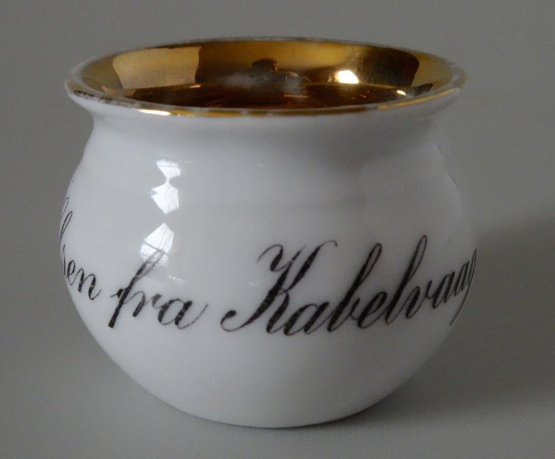 Antique Miniature Gilded Porcelain Potty Chamber Pot - 5
