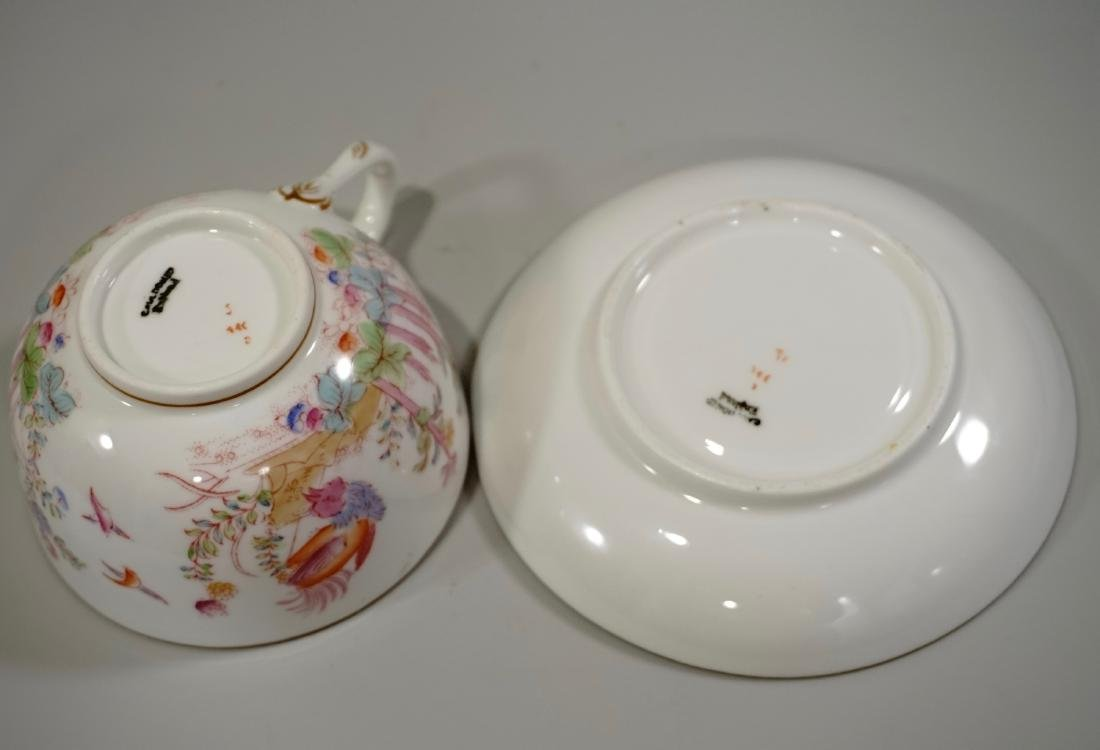 Cauldon England Antique Phoenix Bird Tea Cup Saucer Set - 7