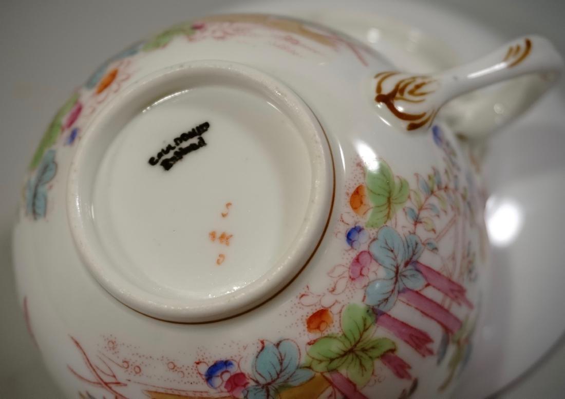 Cauldon England Antique Phoenix Bird Tea Cup Saucer Set - 8