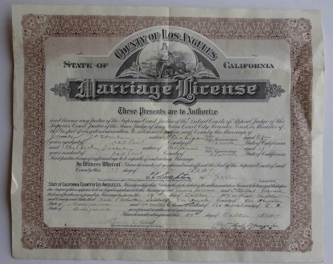 Antique 1919 California Marriage Los Angeles License