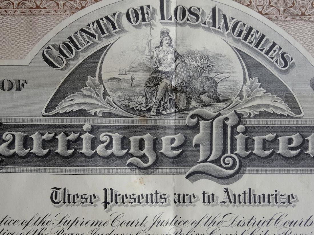 Antique 1919 California Marriage Los Angeles License - 2