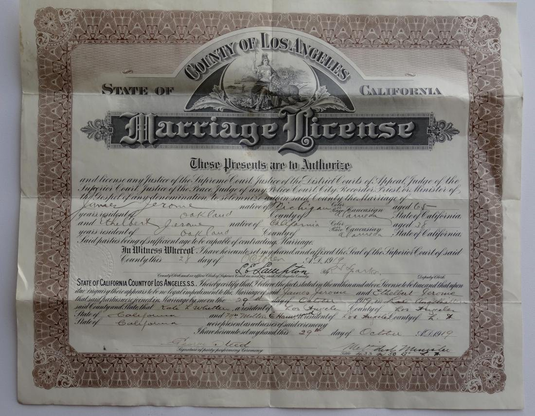 Antique 1919 California Marriage Los Angeles License - 4