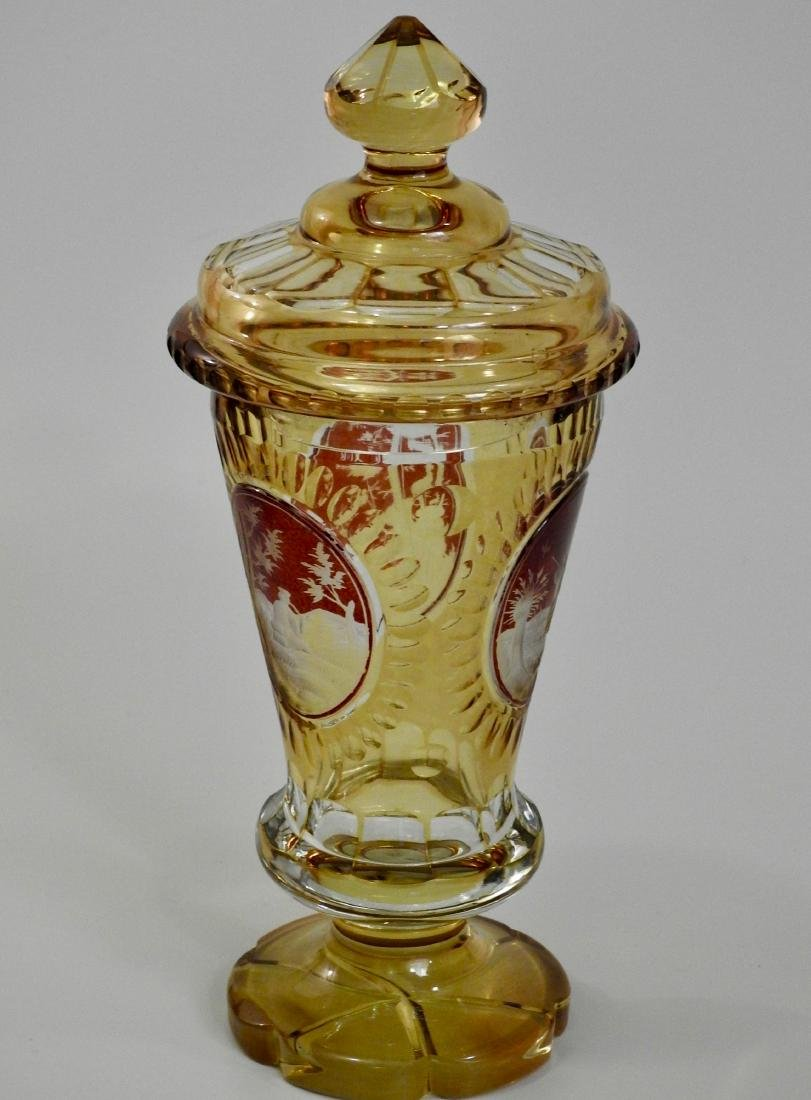Bohemian Amber Pokal Cut to Clear Ruby Flashed Glass - 2