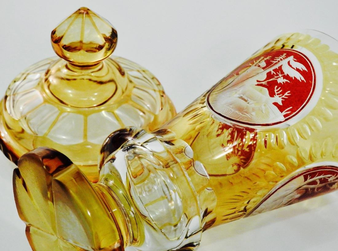 Bohemian Amber Pokal Cut to Clear Ruby Flashed Glass - 7