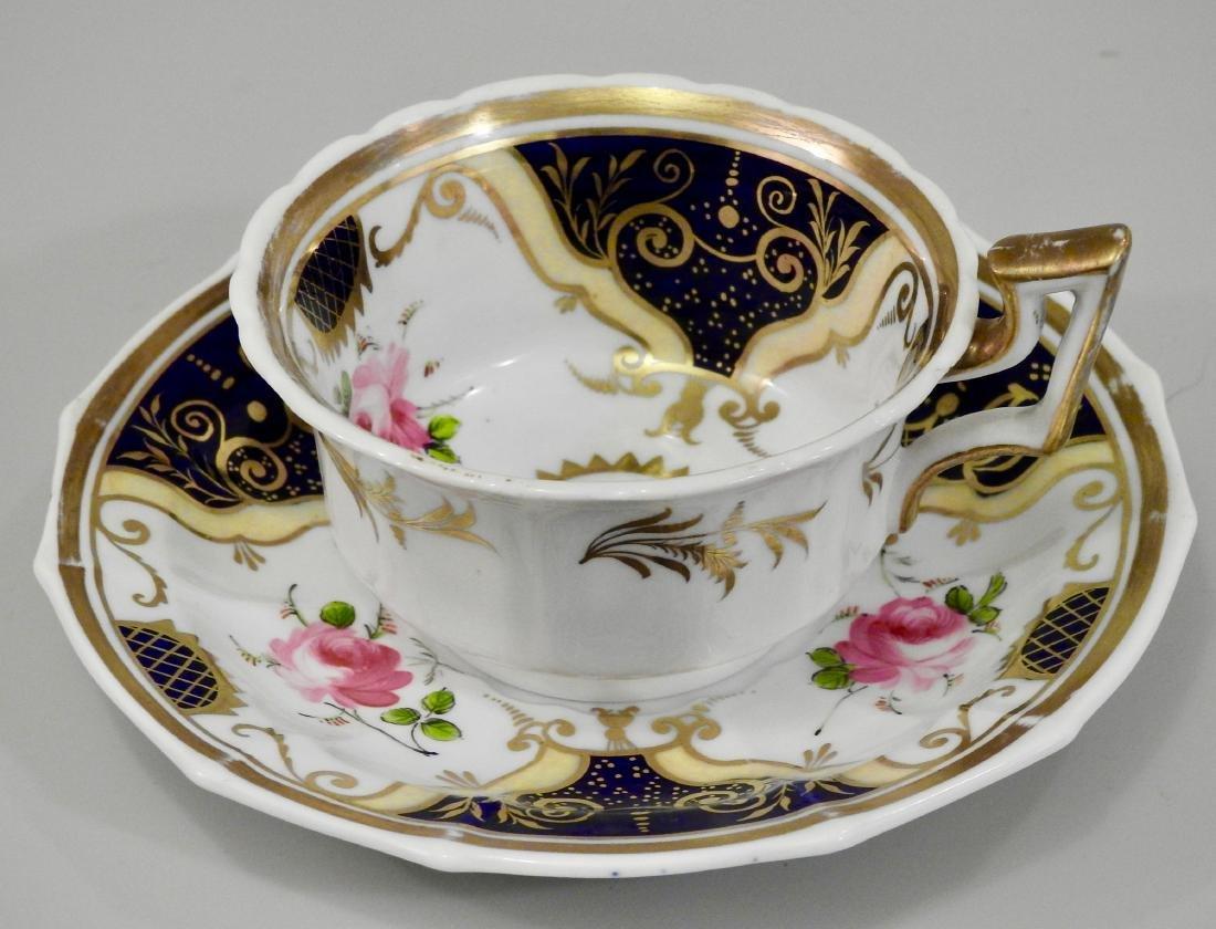 Antique Cobalt Gold English Tea Cup and Saucer