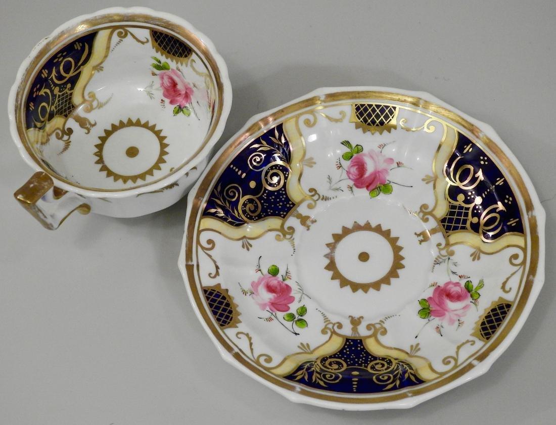 Antique Cobalt Gold English Tea Cup and Saucer - 2