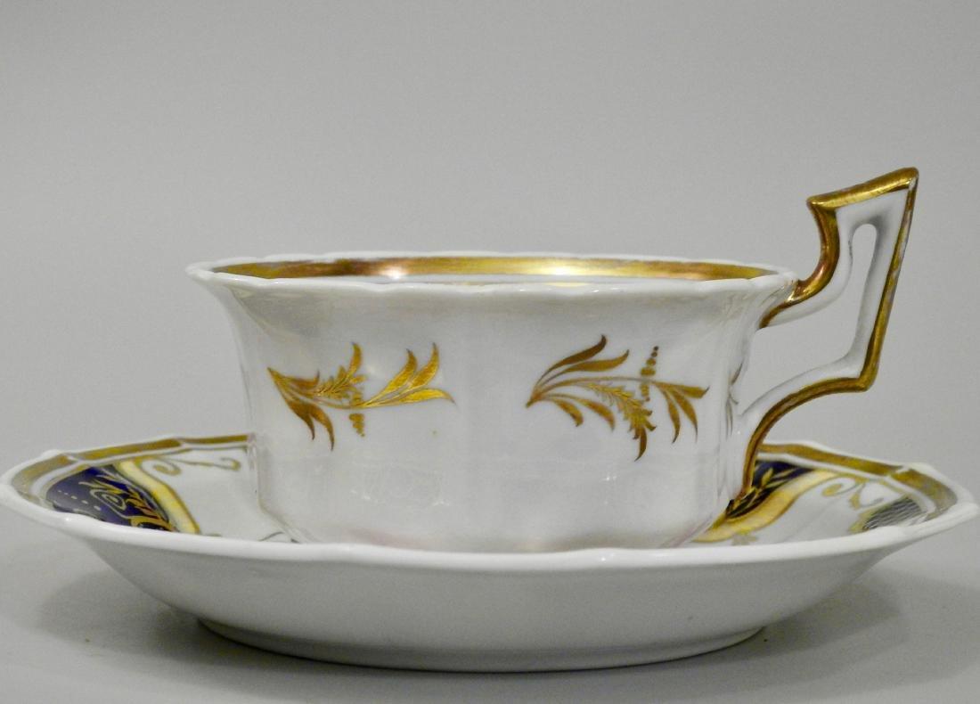 Antique Cobalt Gold English Tea Cup and Saucer - 5