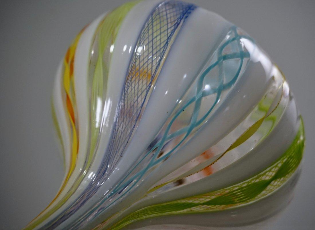 Zanfirico Latticino Murano Fine Italian Art Glass Vase - 5