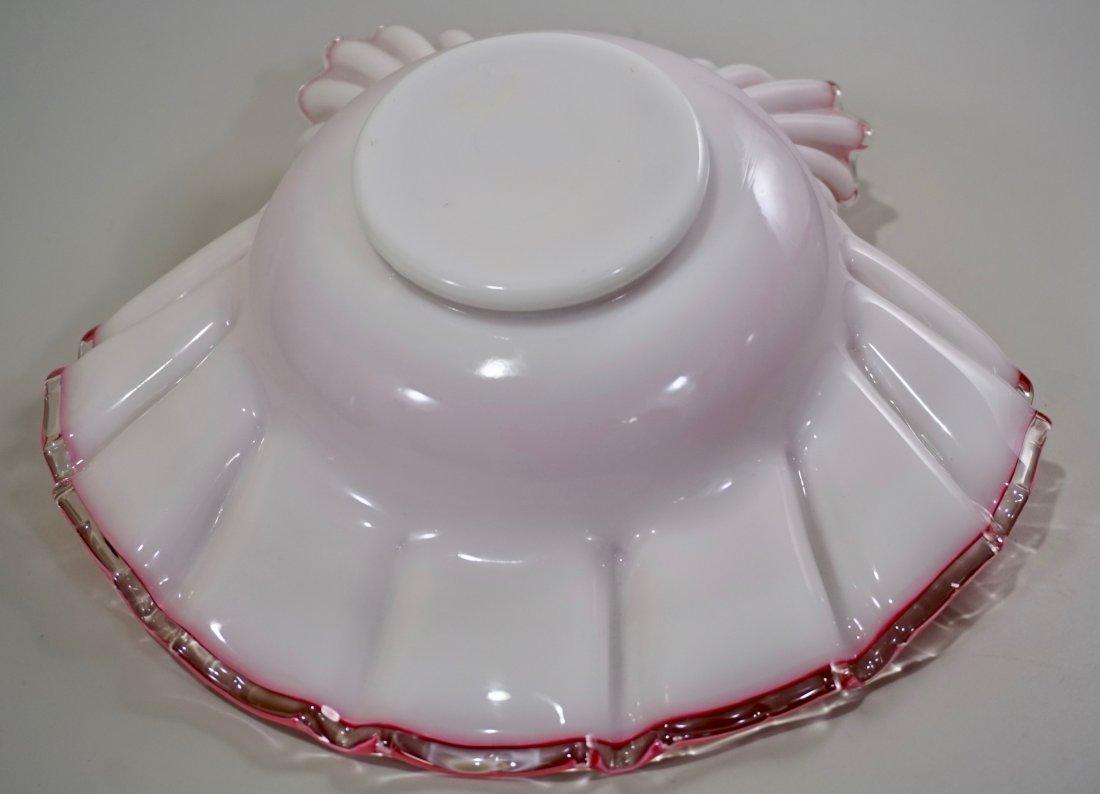 Vintage Cased Art Glass Pink Bride Basket Bowl - 10