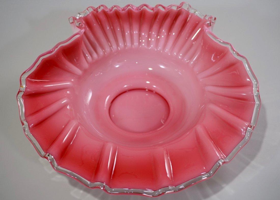 Vintage Cased Art Glass Pink Bride Basket Bowl - 3