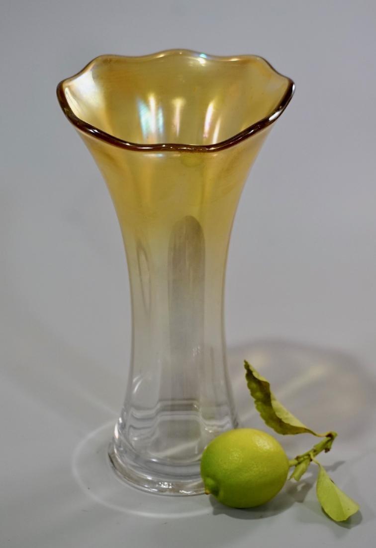 Iridescent Glass Art Nouveau Trumpet Style Vase