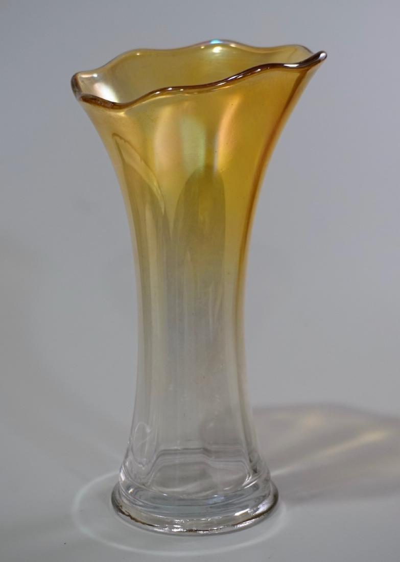 Iridescent Glass Art Nouveau Trumpet Style Vase - 2