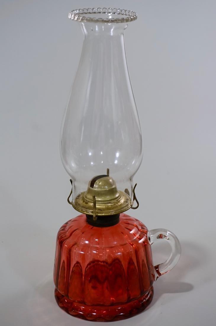 Antique Cranberry Glass Kerosene Finger Lamp - 2
