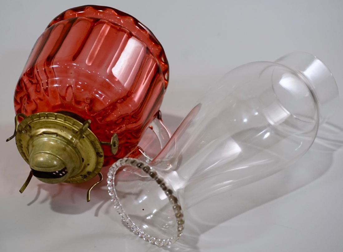 Antique Cranberry Glass Kerosene Finger Lamp - 5