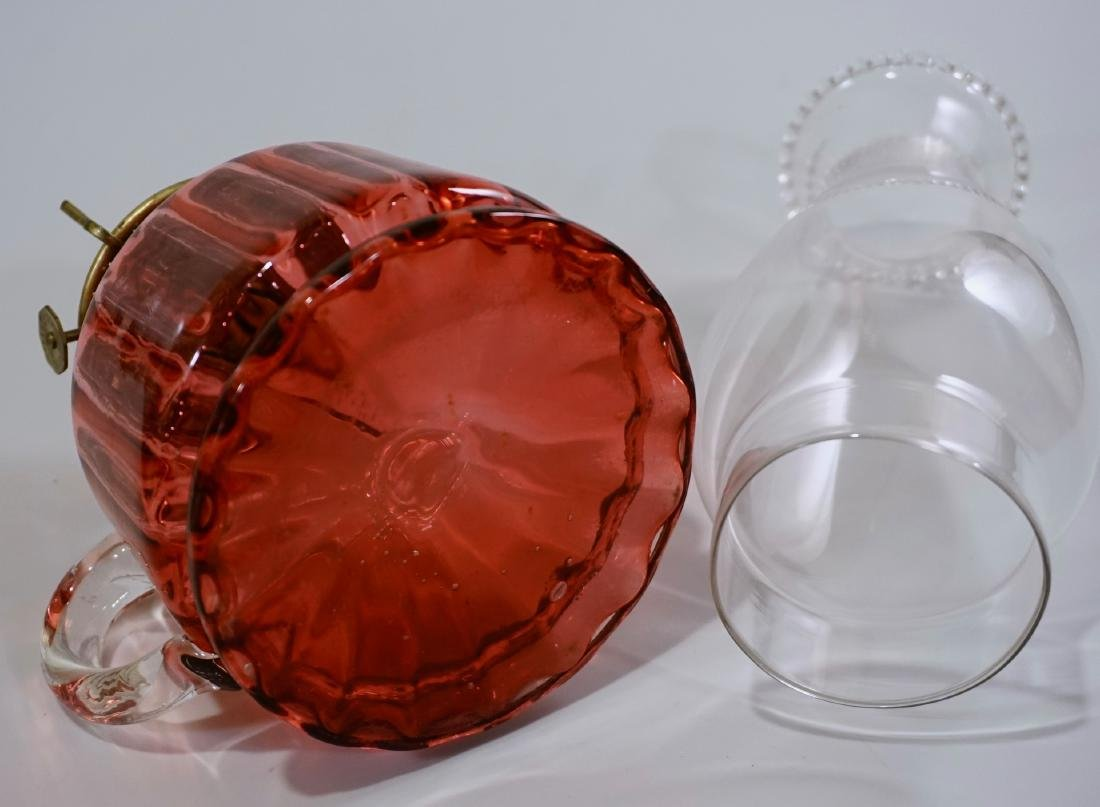 Antique Cranberry Glass Kerosene Finger Lamp - 6