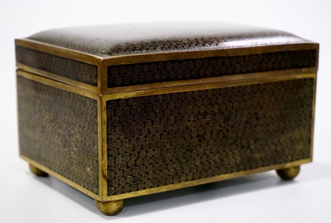 Old Oriental Cloisonne Enamel Jewelry Trinket Box