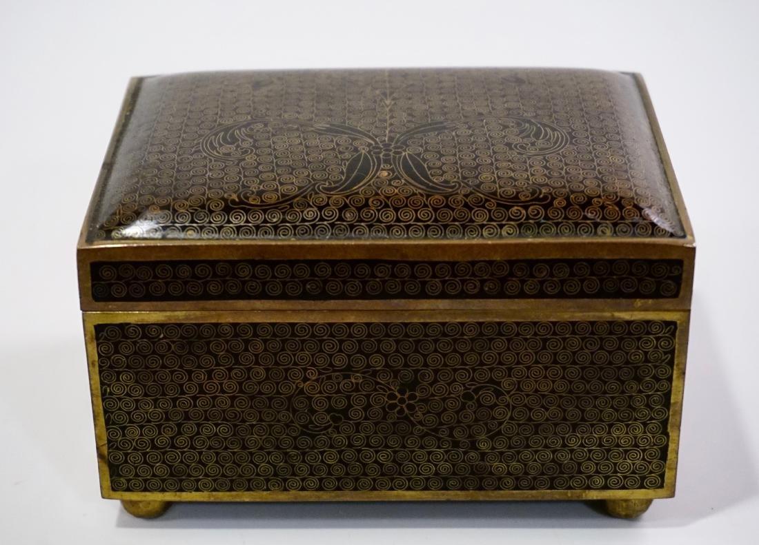 Old Oriental Cloisonne Enamel Jewelry Trinket Box - 2