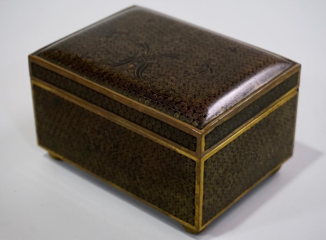 Old Oriental Cloisonne Enamel Jewelry Trinket Box - 3