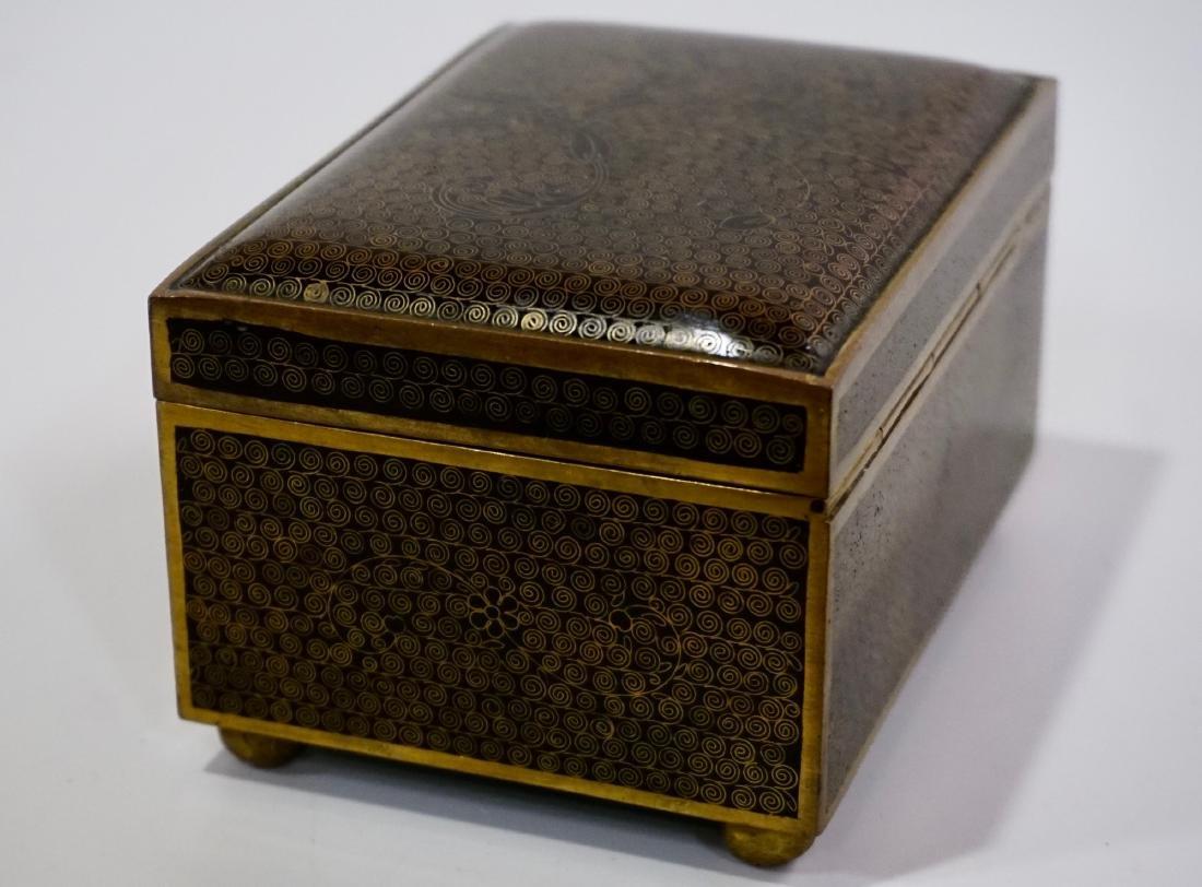 Old Oriental Cloisonne Enamel Jewelry Trinket Box - 4